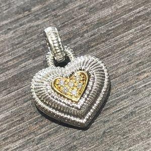 Judith Ripka Heart Pendant Diamonds, 18kt sterling